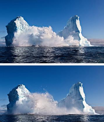 A huge iceberg collapse at sea